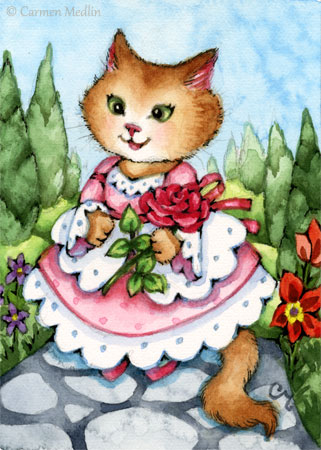 Beauty's Rose cute cat painting