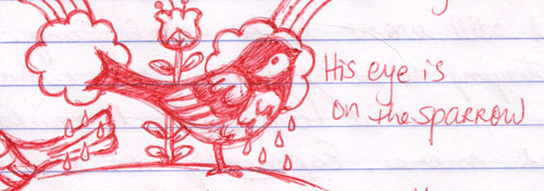 His Eye is On the Sparrow sketch