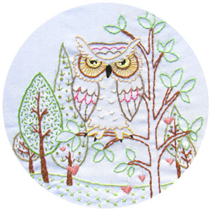 Heart Tree Owl embroidery pattern