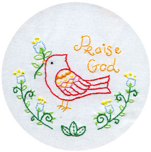 Praise Bird embroidery pattern
