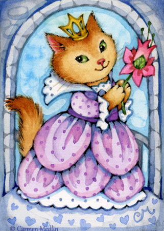 Purple Princess kitty ACEO