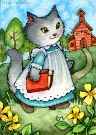 Walk to the Schoolhouse cute cat painting