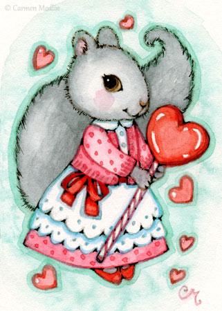 Lollipop Valentine cute squirrel art