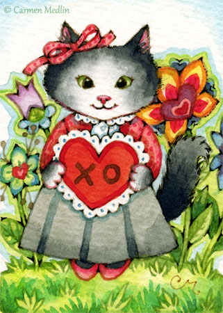 Paper Heart cute kitty ACEO