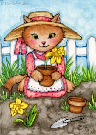 Planting Daffodils cute cat art