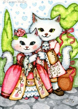 Rococo Valentine cute kitty ACEO