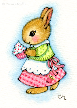 Cupcake Bunny ACEO cute rabbit art