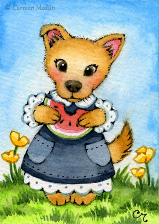 Little Belle ACEO dog puppy art
