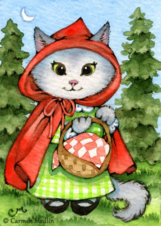 Little Red Riding Kitty ACEO cute fairytale cat art