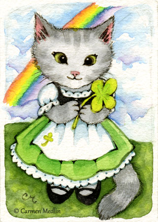Lucky Kitten ACEO cute animal art cats