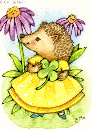 Prickles ACEO cute hedgehog animal art