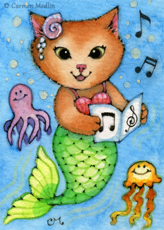 Sea Songs ACEO cute mermaid cat art