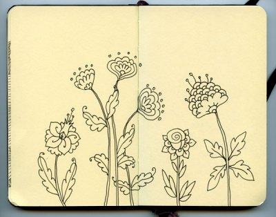 Doodle flowers in a Moleskine