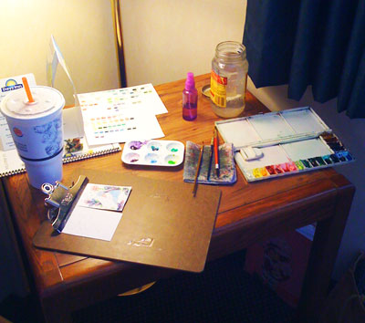 Painting in a hotel room