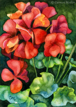 Geranium Joy ACEO floral painting