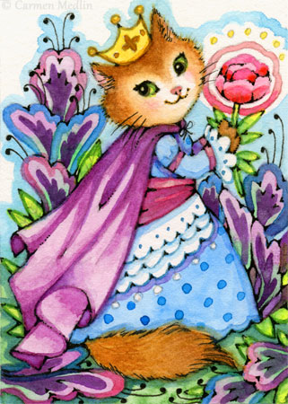 The Wondrous Garden ACEO cute cat art