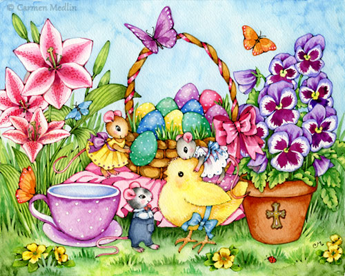 Easter Joy cute mouse chick painting