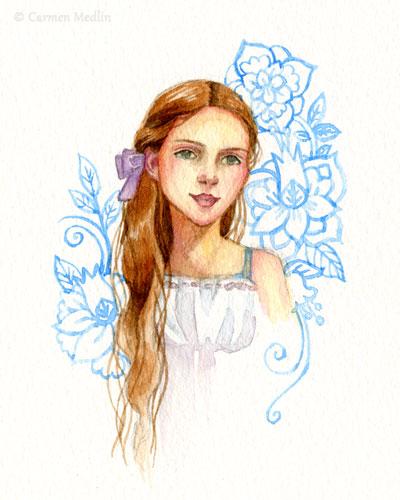Doodle flowers girl watercolor art