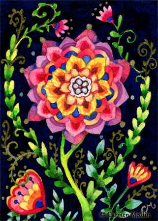 Whimsy Garden - whimsical flower doodle watercolor painting
