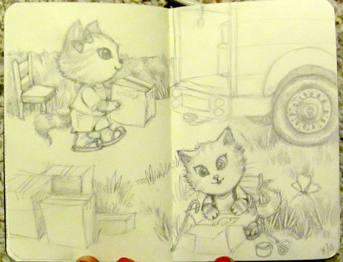 Pencil Sketch - Cute cats moving boxes