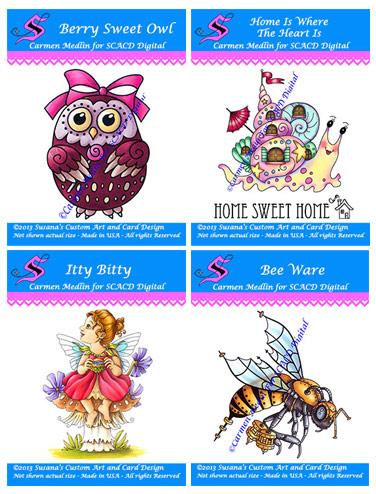Digital Stamps - cute owl, cute snail, little fairy, mechanical bee