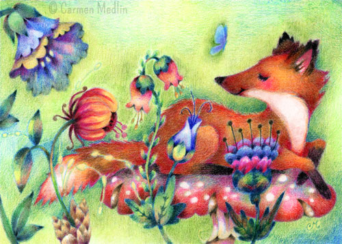 Tiny Fox on a Mushroom cute colored pencil