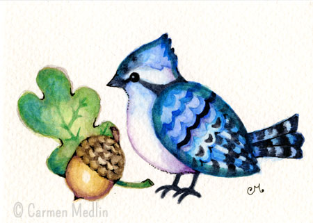 Happy Little Blue Jay cute bird watercolor