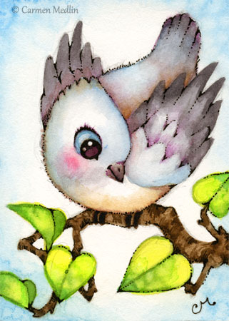 Little Birdie cute bird titmouse illustration