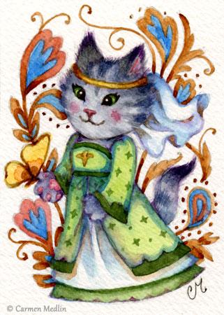 Maid Marian cute cat illustration