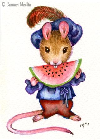 Renaissance Watermelon Mouse cute illustration