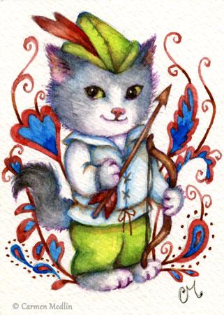 Robin Hood cute cat illustration