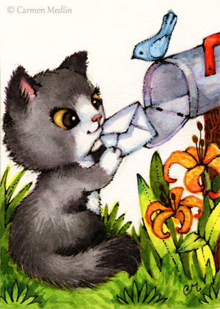 Thinking of You cute cat mail bird letter illustration