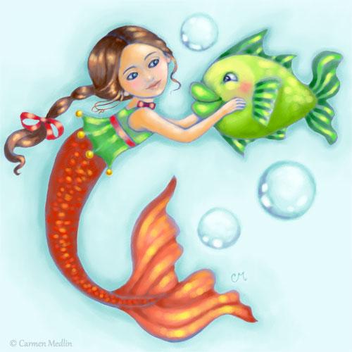 Mermaid Fish Friends cute digital illustration Photoshop