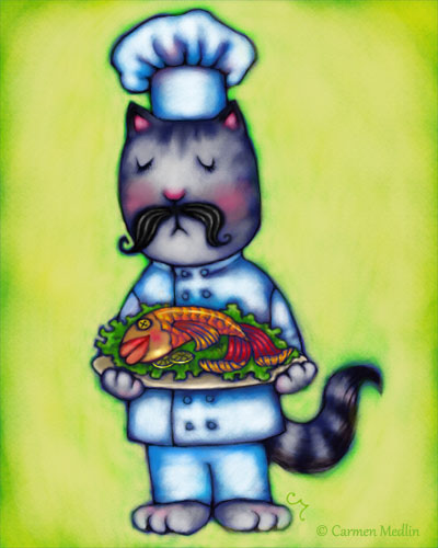 seafood chef gourmet cat cute digital illustration friday