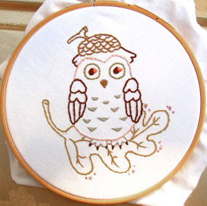 Acorn Owl cute hand embroidery pattern