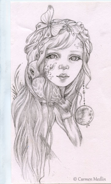Moon Owl girl pencil art