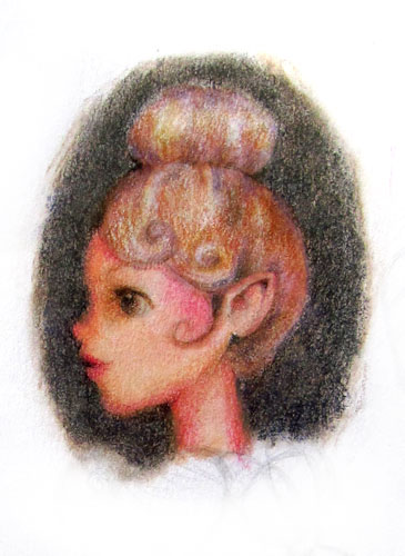 Elfin Girl colored pencil illustration art