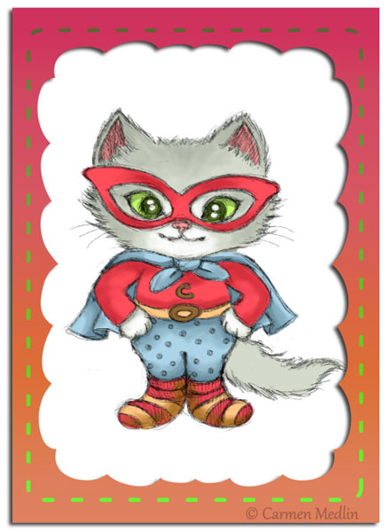 Illustration Friday Disguise cute superhero cat