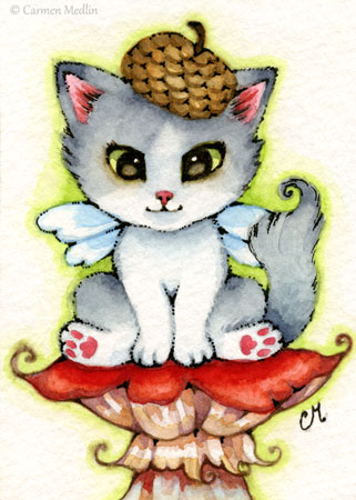 Fairy Kitty cute watercolor cat illustration