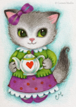 Teapot Kitten cute cat art