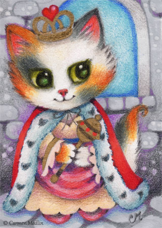 Kitten Queen cute cat art