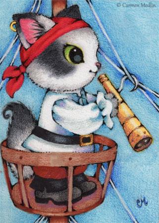 Illustration Friday pirate cat cute illustration