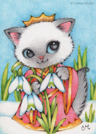 Snowdrop Princess Kitten cute cat art