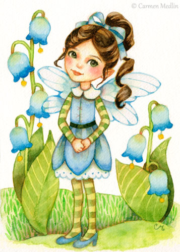 Little Bluebells cute fairy art