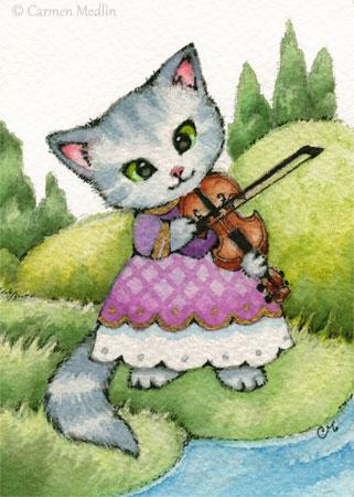 Kitty Fiddle cute cat violin art