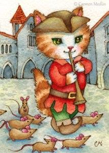 Pied Piper cute fairytale cat art