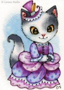 Purple Promenade cute victorian cat art