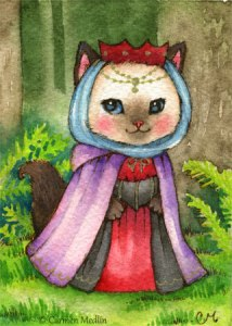 Queen of the Forest cute medieval cat art
