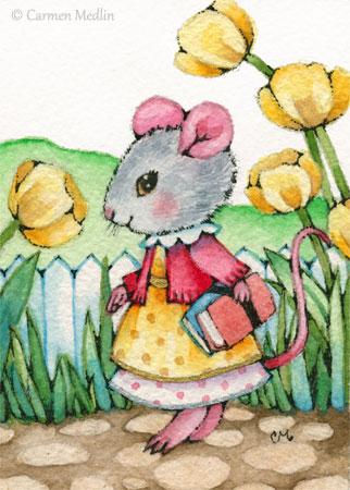 School Mouse cute animal art
