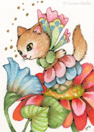 Spring Fairy Kitten cute fantasy cat art